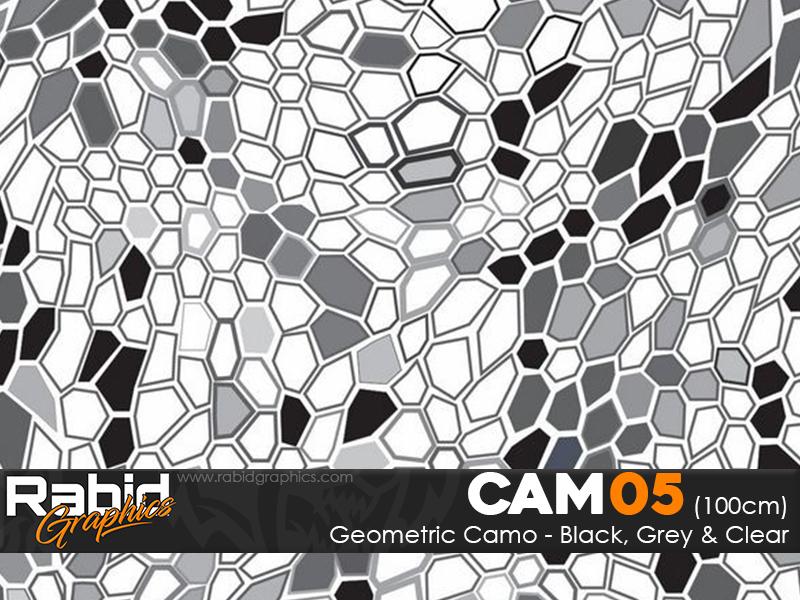 Geometric Camo - Black, Grey & Clear (100cm)