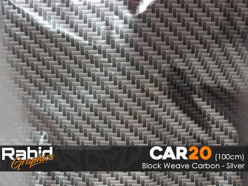 Block Weave Carbon - Silver (100cm)